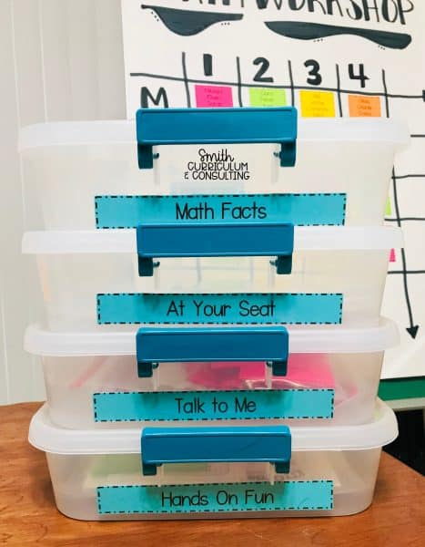 Math Workshop Organization Bins