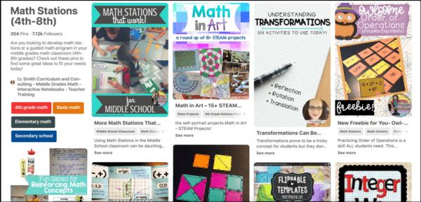 Math Stations Pinterest Board
