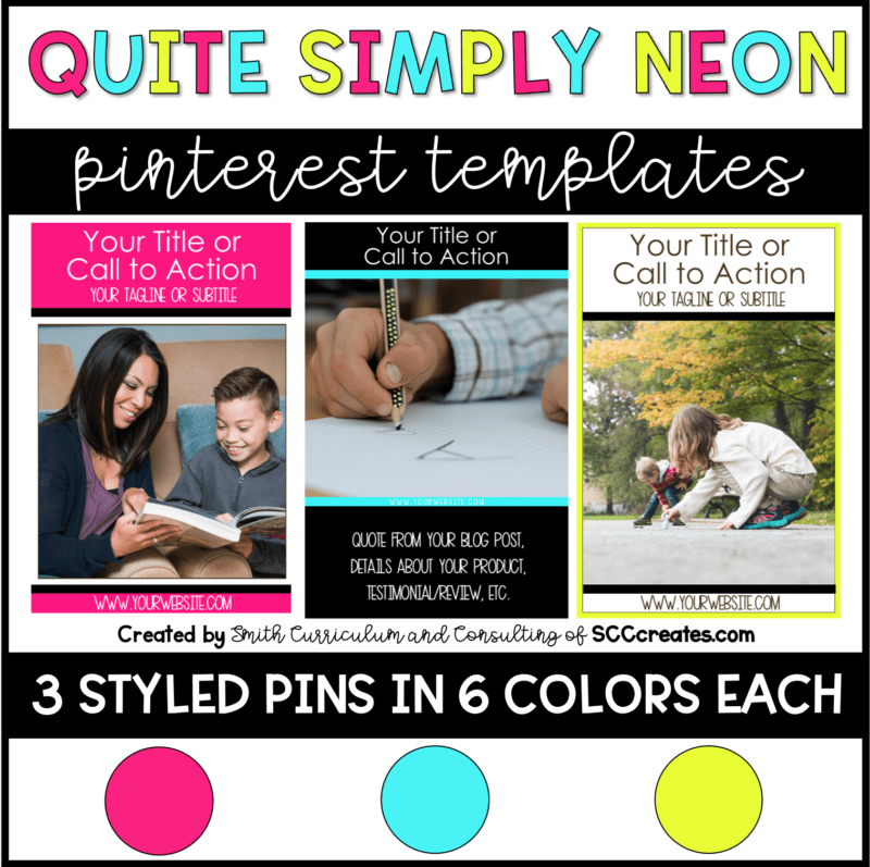 Quite Simply Neon Pinterest Templates