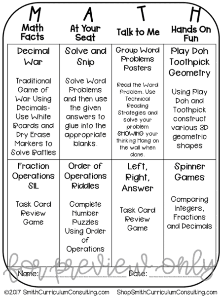 Math Workshop Stations Sheet