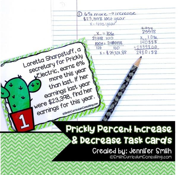 Prickly Percent Increase and Decrease Task Cards