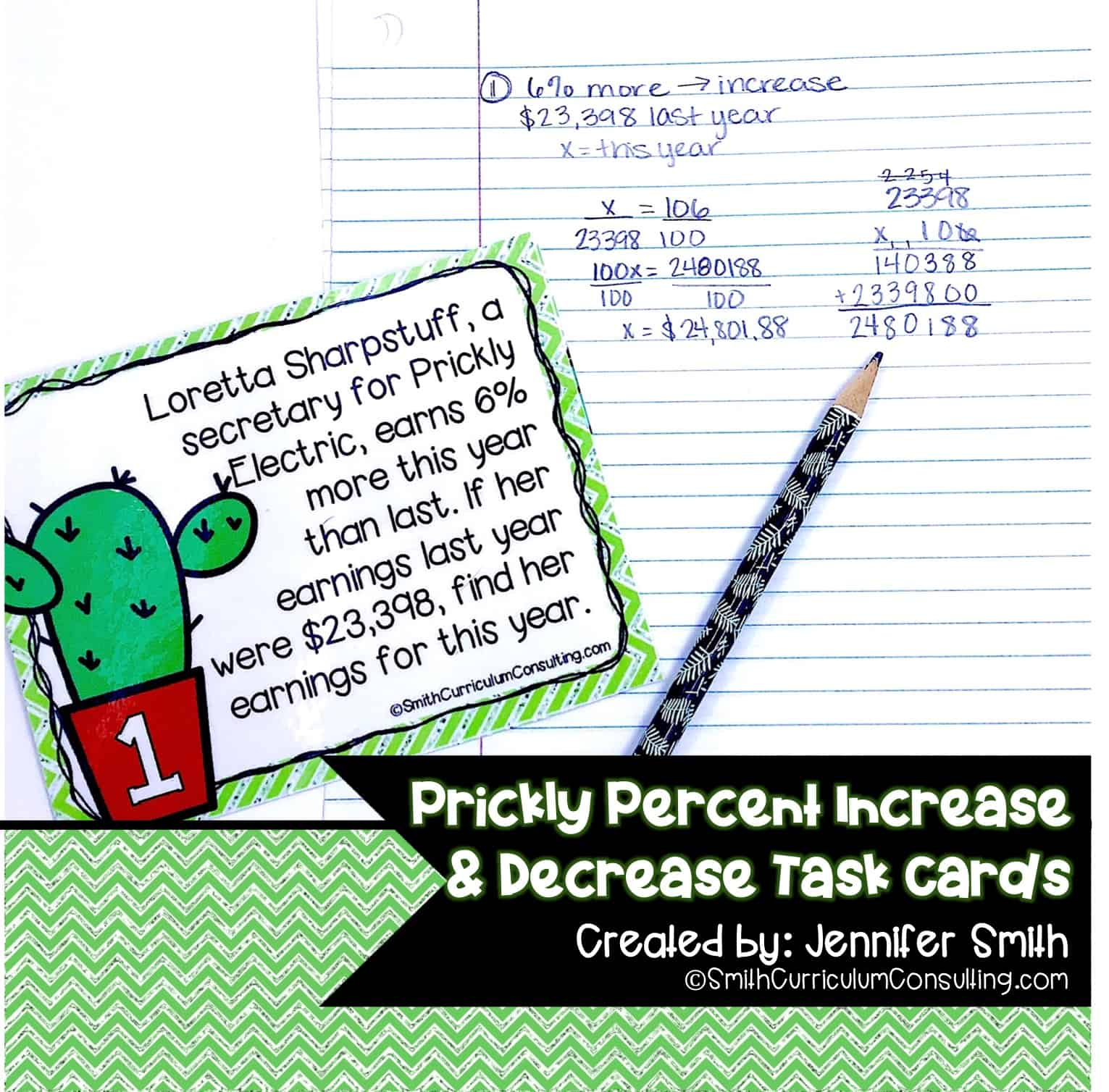 Prickly Percent Increase and Percent Decrease Task Cards | TEKS 7 4d