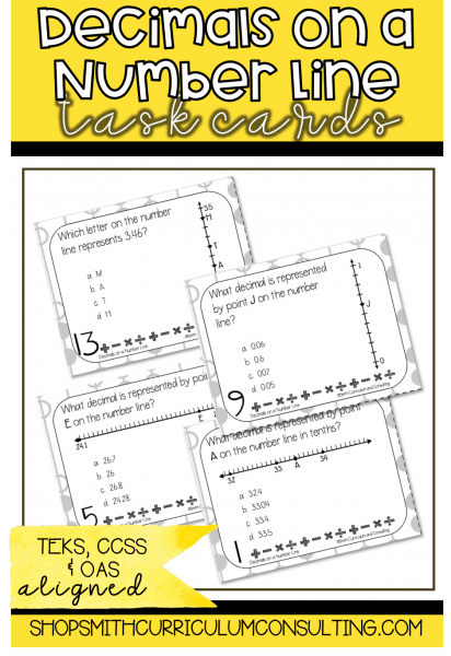Decimals on a Number Line Task Cards