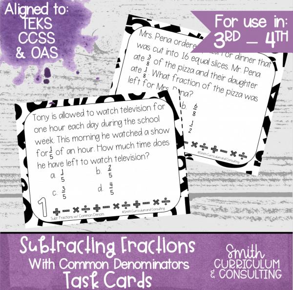 Subtracting Fractions Common Denominators