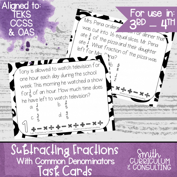 Subtracting Fractions Common Denominators