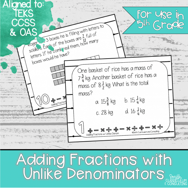 Adding Fractions with Uncommon Denominators Task Cards
