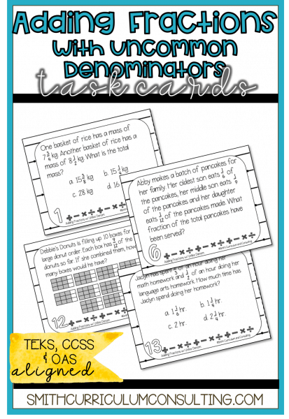 Adding Fractions Uncommon Task Cards