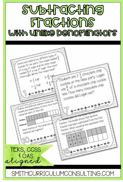 Subtracting Fractions Uncommon Task Cards