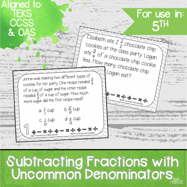 Subtracting Fractions with Common Denominators Task Cards