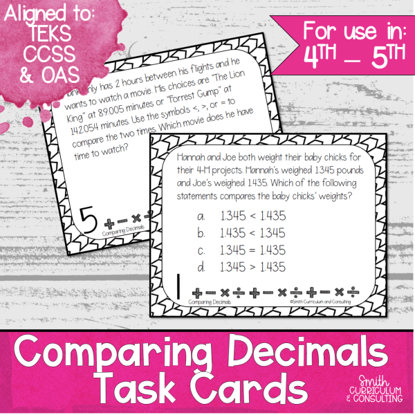 Comparing Decimals Task Cards