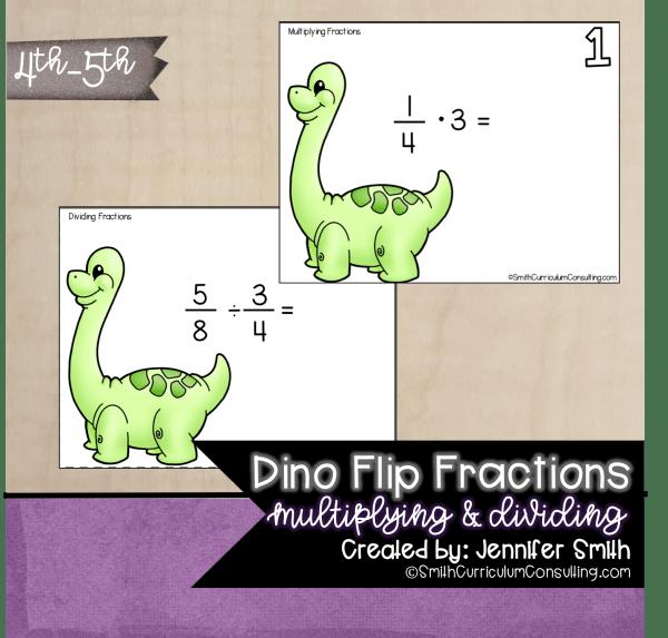 Dino Flip Multiplying Fractions Task Cards