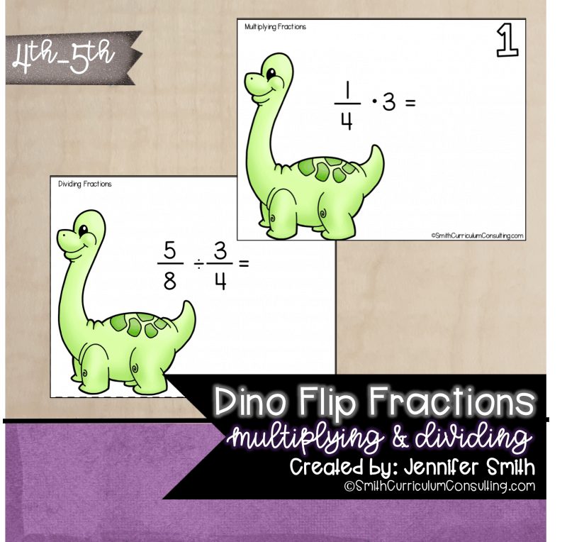 Dino Flip Multiplying Fractions Task Cards