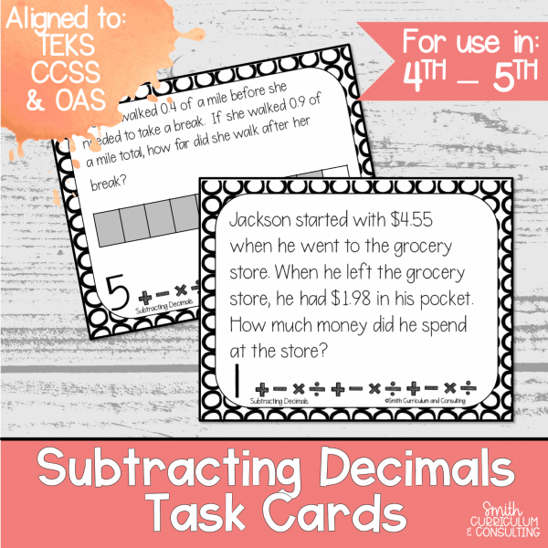 Subtracting Decimals Task Cards