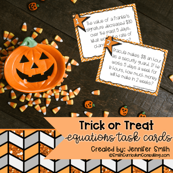 Halloween Equations Task Cards