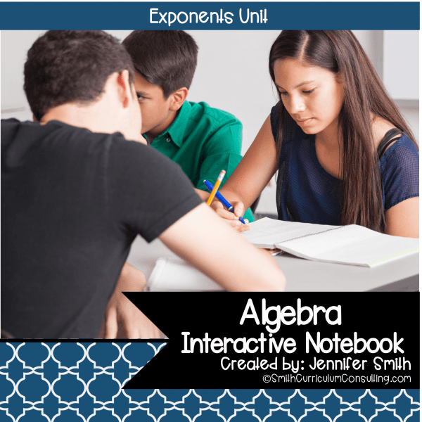 Algebra Exponents Interactive Notebook Unit
