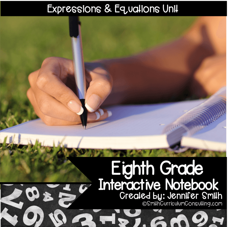 Eighth Grade Expressions and Equations Interactive Notebook Unit