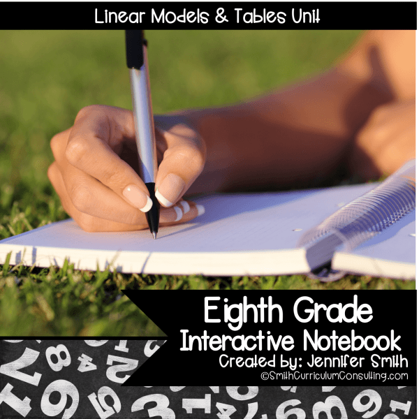 Eighth Grade Linear Models and Tables Interactive Notebook Unit