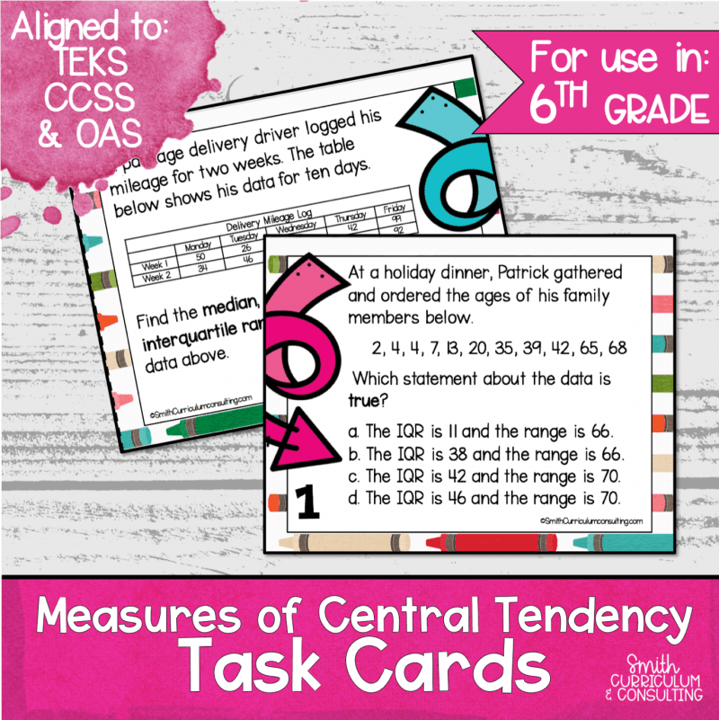 Measures of Central Tendency Task Cards