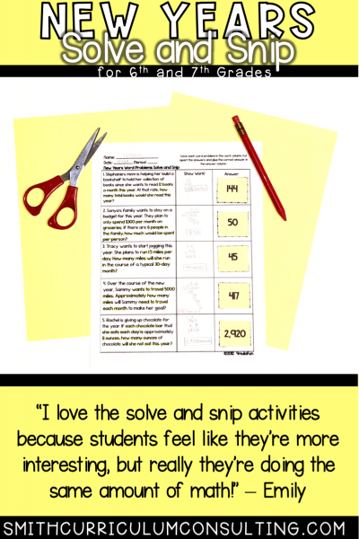 New Years Math Activity Solve and Snip