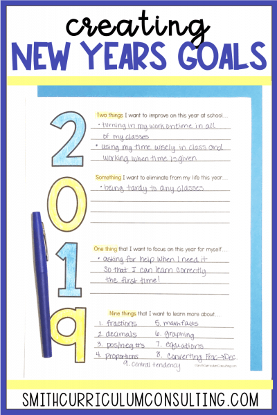 Creating New Years Goals in the Classroom