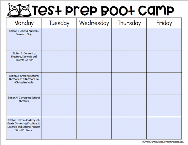 FREE Test Prep Boot Camp Editable Calendar